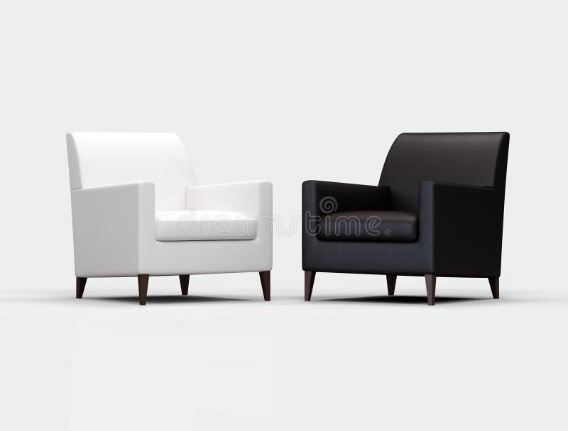 czarny biały fotel royalty ilustracja