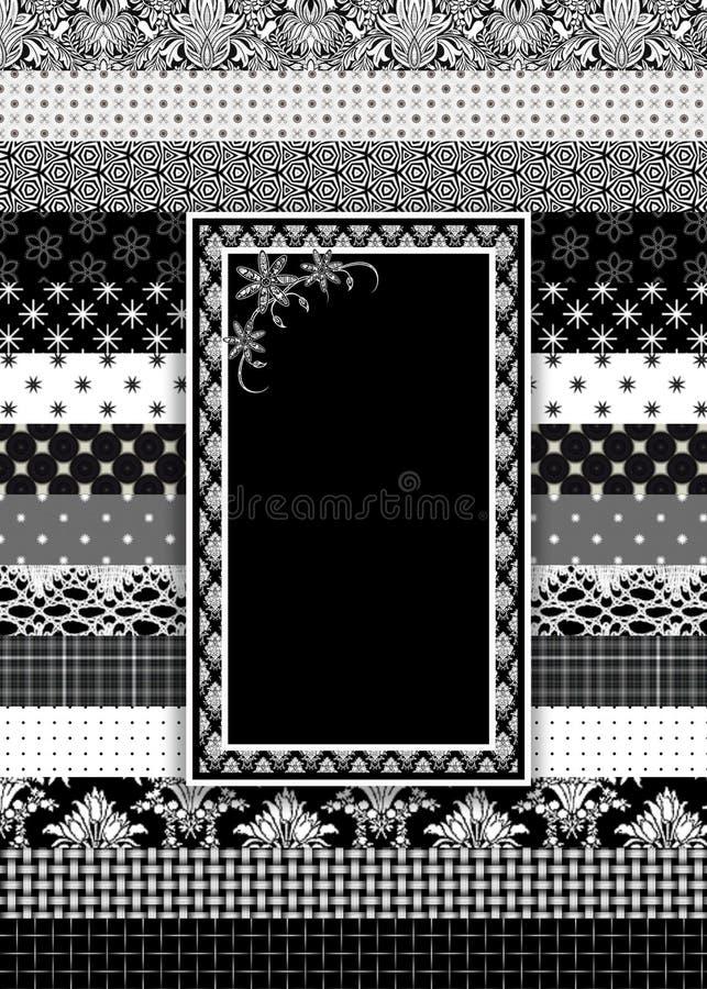 Czarny, Biały i Szary tło z warstwami projektantów wzory z teksta terenem w centrum z motywem, ilustracji