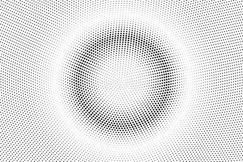 Czarny biały kropkowany halftone Połówka - brzmienie wektoru tło Centrowany gładzi kropkowanego gradient zdjęcia stock