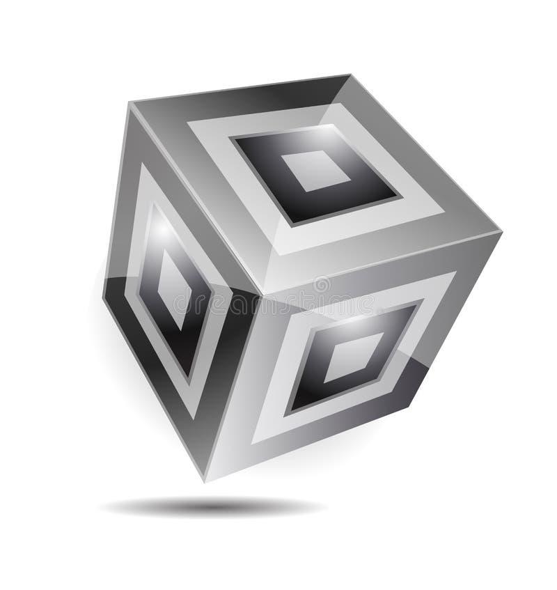 Czarny biały sześcianu korporacyjnego biznesu 3d logo royalty ilustracja