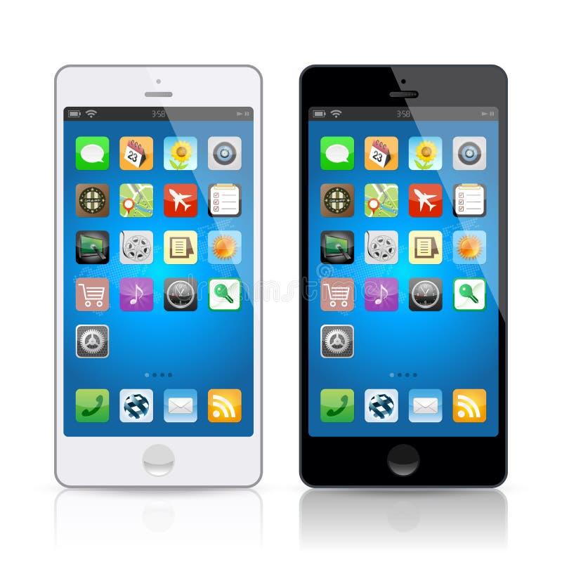 Czarny & biały telefon komórkowy, wektor ilustracji