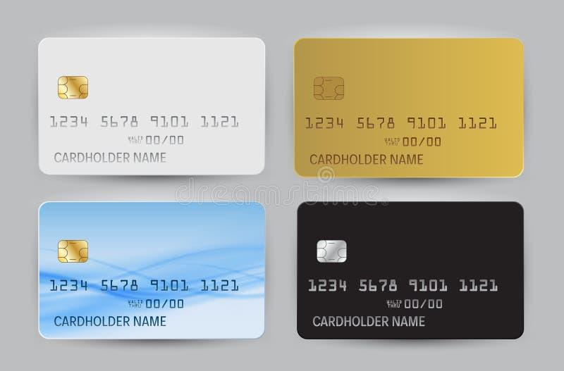 Czarny, Biały, złoto i błękita bank Falowy karty puste miejsce, modeluje szablonu odgórnego widok z cieniem odizolowywającym na p ilustracji