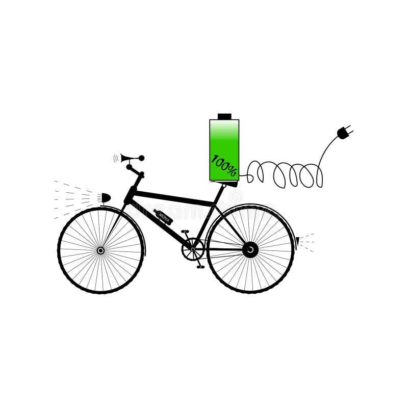Czarny bicykl z baterią, dźwięka rogiem i elektryczną prymką, - wektorowa ilustracja ilustracji