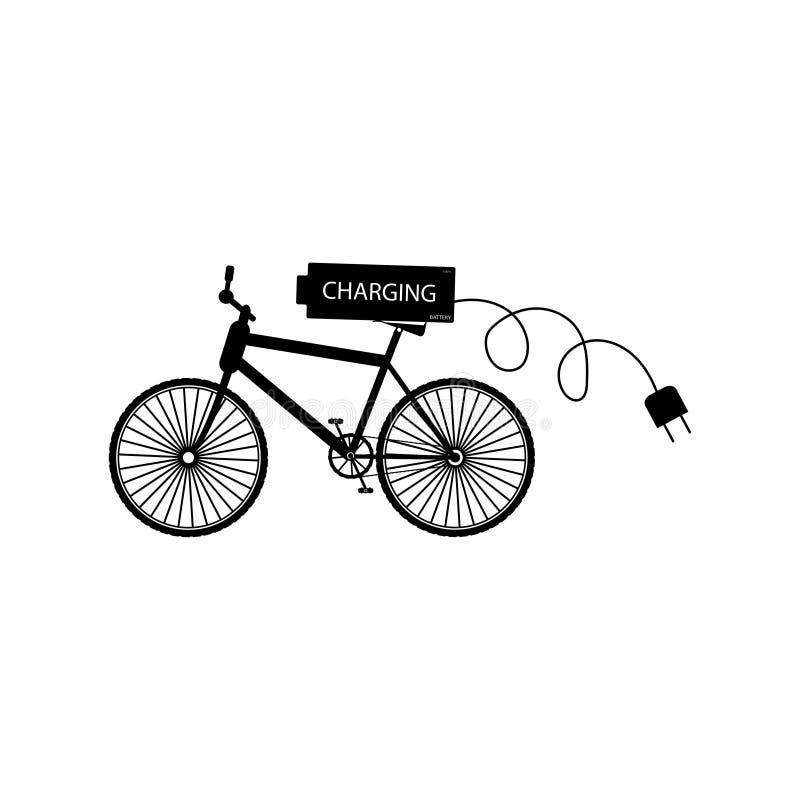 Czarny bicykl z bateryjną i elektryczną wtyczkową pojedynczą fazą - wektorowa ilustracja ilustracja wektor
