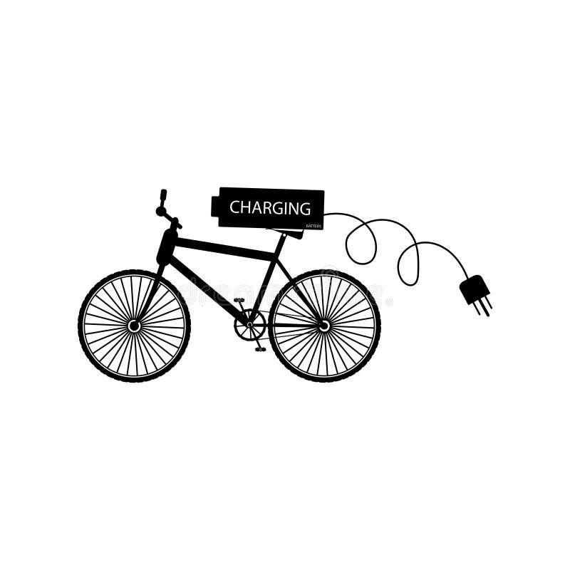 Czarny bicykl z bateryjny i elektryczny wtyczkowy dwufazowym - wektorowa ilustracja ilustracja wektor