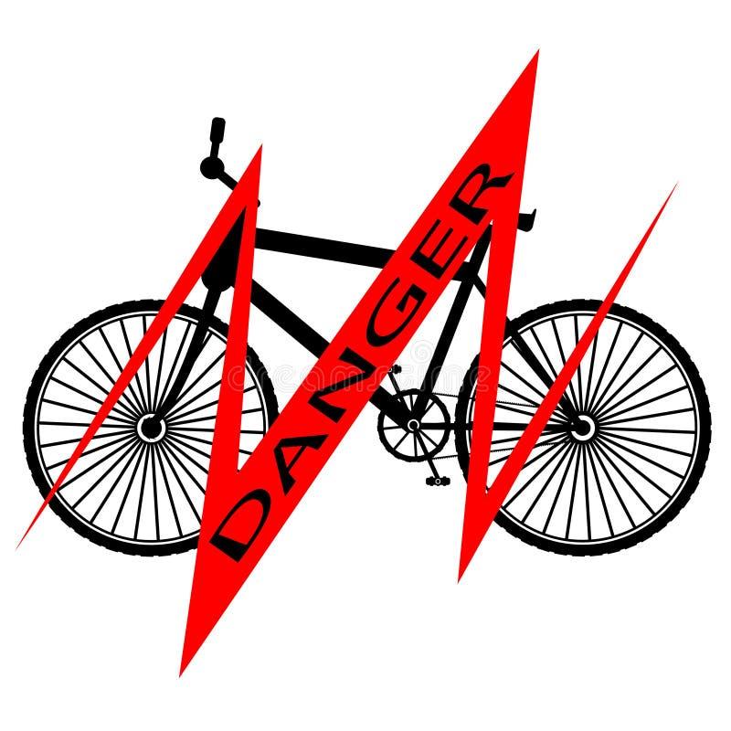 Czarny bicykl z czerwonej linii i inskrypcji niebezpieczeństwem - wektorowa ilustracja royalty ilustracja