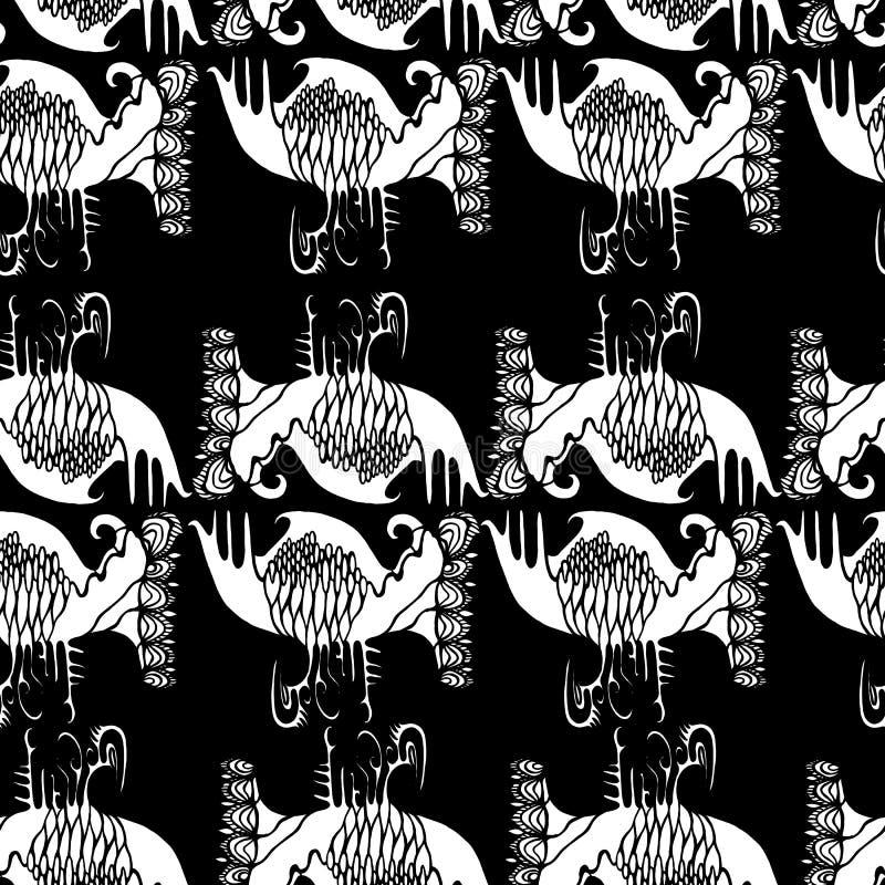 Czarny biel, grafika, abstrakcjonistyczny biały koloru wzór na czarnym tle royalty ilustracja