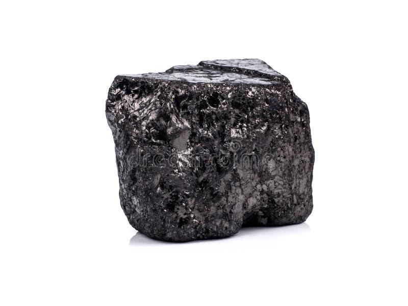 czarny bitumiczny węgiel na białym tle zdjęcia stock