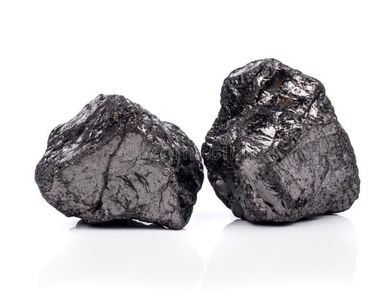 czarny bitumiczny węgiel na białym tle fotografia stock
