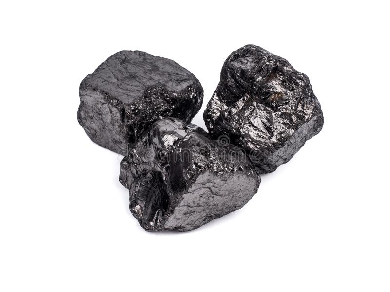 czarny bitumiczny węgiel na białym tle obraz stock