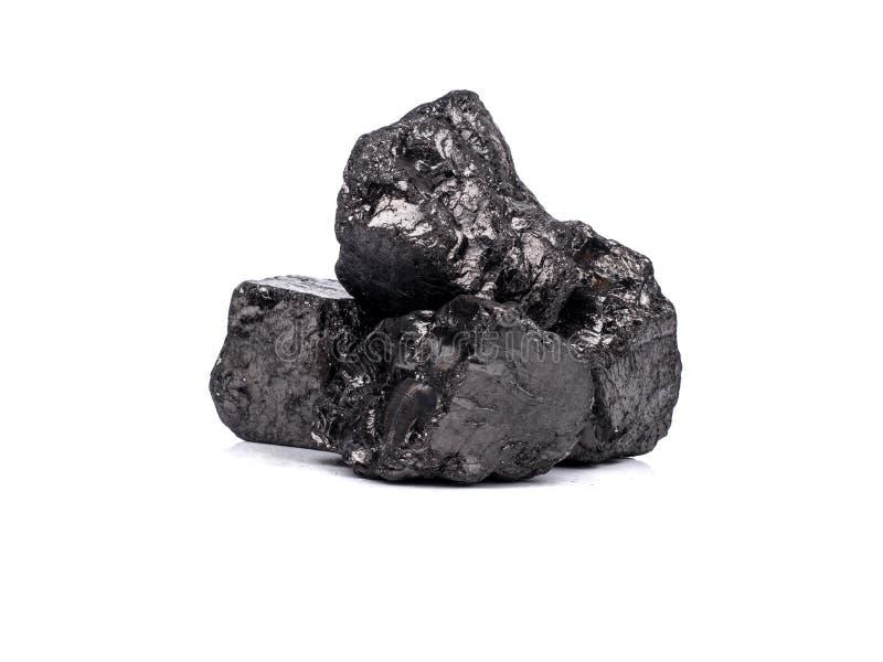 czarny bitumiczny węgiel na białym tle obrazy stock