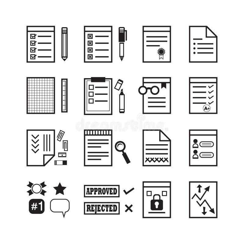 Czarny biuro papier, dokumenty i materiałów znaków ikony ustawiać kreskowi, ilustracja wektor