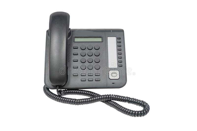 Czarny biurowy telefon odizolowywający na białym tle fotografia royalty free