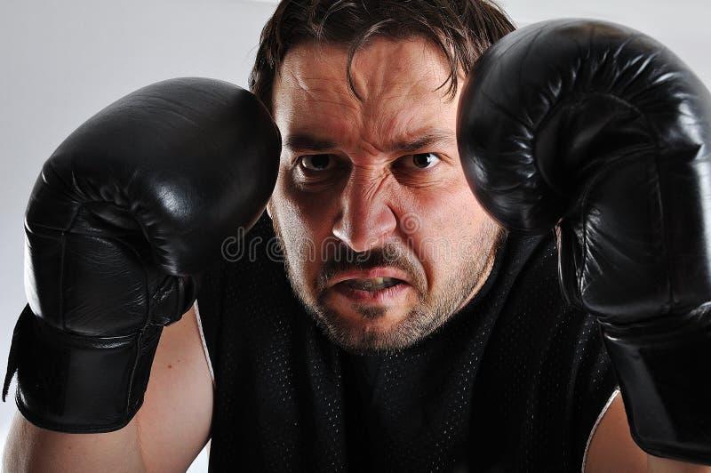 czarny bokserscy rękawiczek mężczyzna potomstwa zdjęcie stock