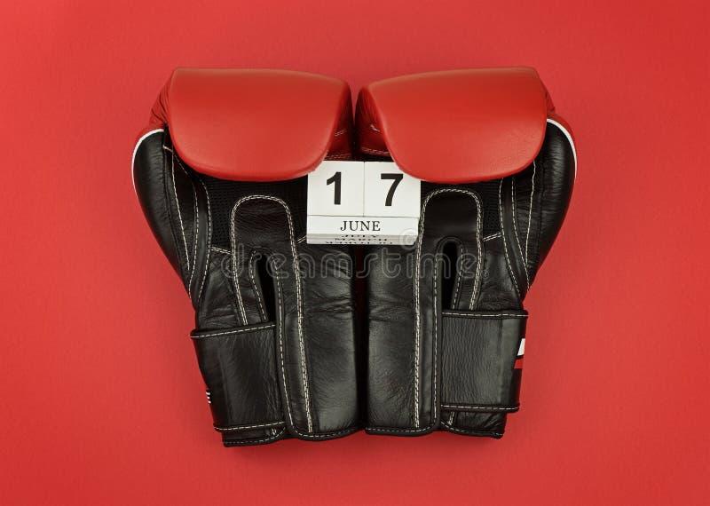 Czarny bokserskich rękawiczek utrzymania kalendarz z liczbą 17 Czerwiec obraz stock