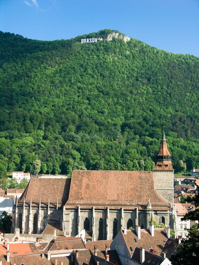 czarny Brasov kościoła Romania fotografia stock