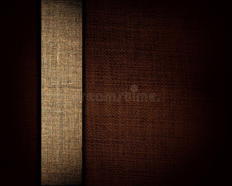 Czarny brezentowa tekstura i jako tło beżowy pasek obrazy stock