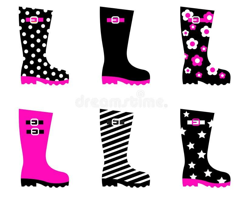 czarny butów menchii deszcz Wellington ilustracja wektor