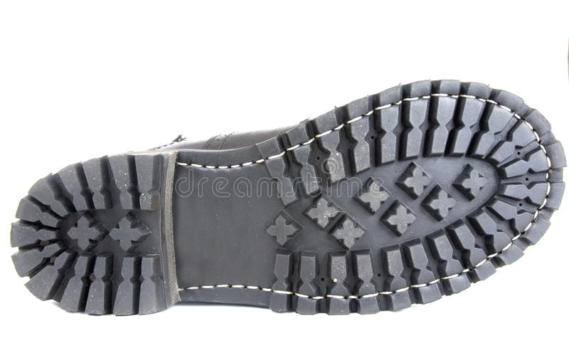 czarny buta rzemienna podeszwa zdjęcie royalty free