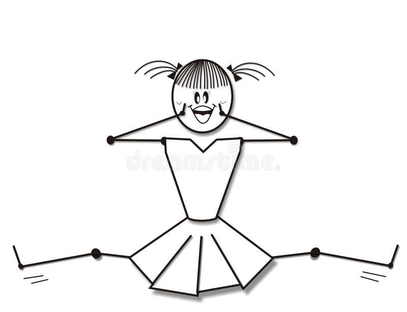 czarny cheerleaderką white royalty ilustracja