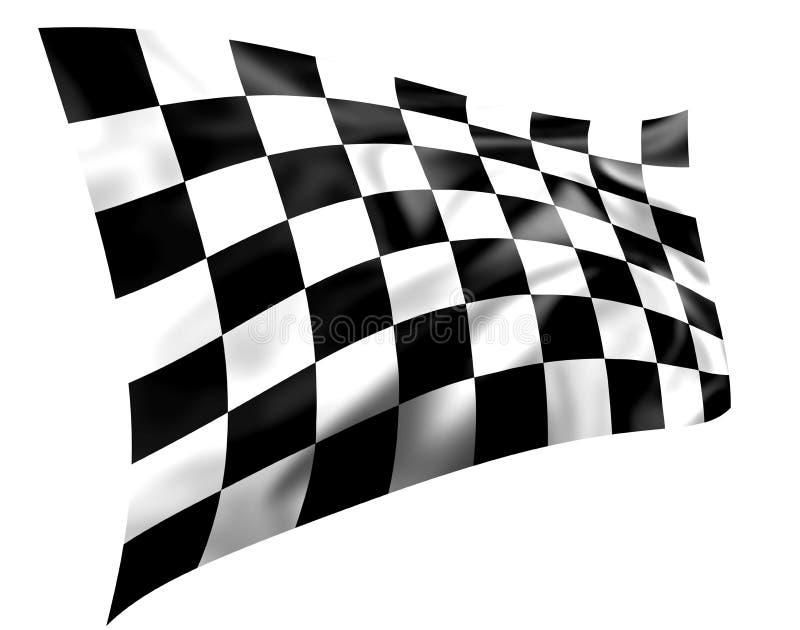 czarny chequered pluskoczącego białe flagi royalty ilustracja