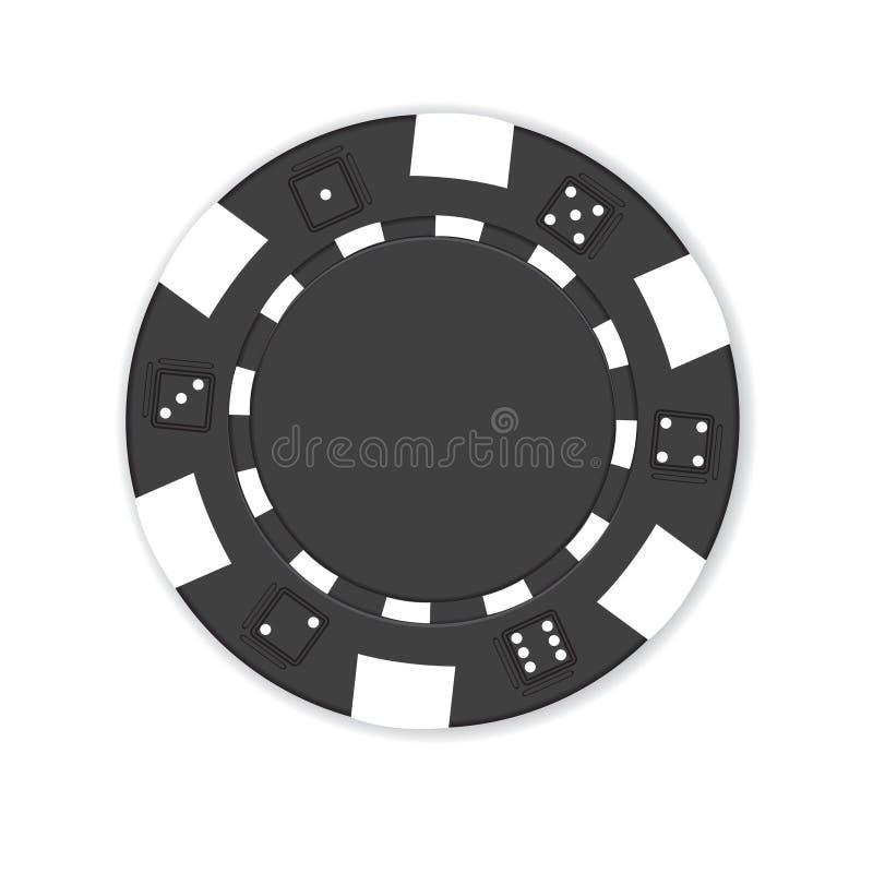 czarny chipa do pokera royalty ilustracja