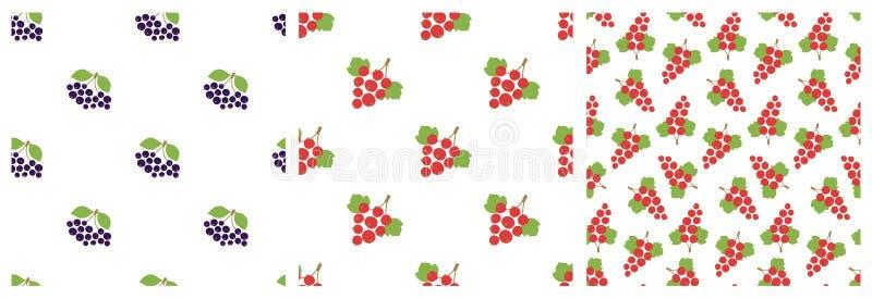 Czarny chokeberry i czerwony rodzynek bezszwowy wzoru Wektorowe jagody Naturalny moda druk Projektów elementy dla tkaniny lub odz ilustracji