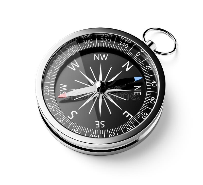 Czarny chromu kompas odizolowywający royalty ilustracja