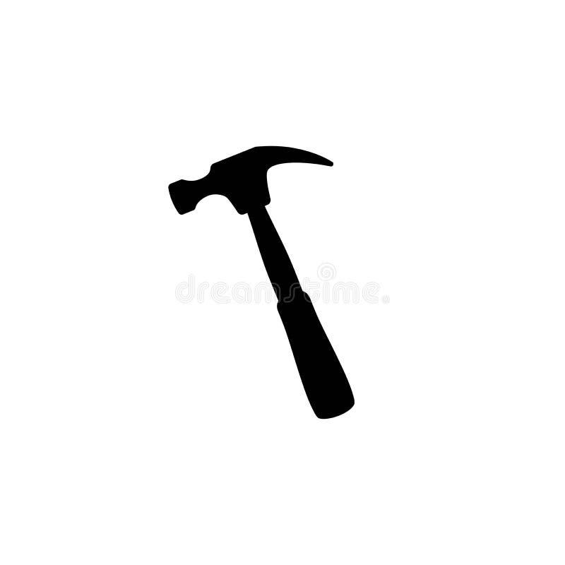 Czarny cieśli młot Złota rączka, locksmith, joiner pazura młota narzędzie dla naprawy i utrzymanie, ilustracji