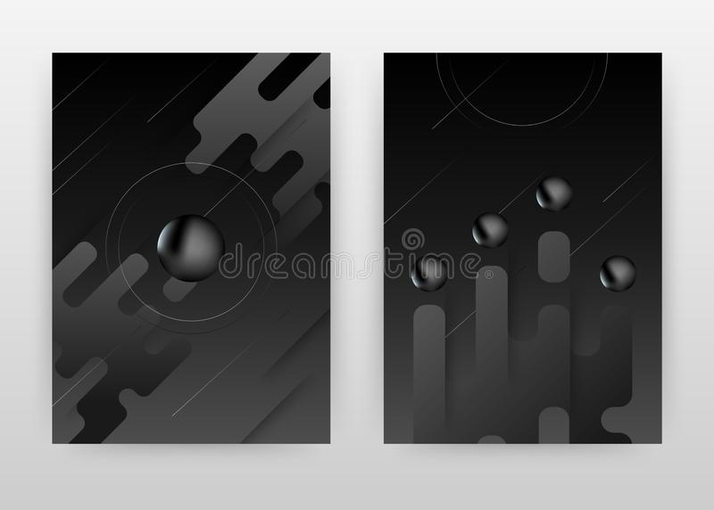 Czarny ciekły round piłek tła biznesowy projekt dla sprawozdania rocznego, broszurka, ulotka, plakat Geometryczny 3D round piłki  royalty ilustracja