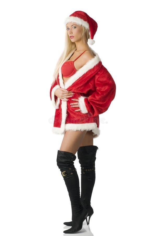 czarny but Claus Santa obraz royalty free