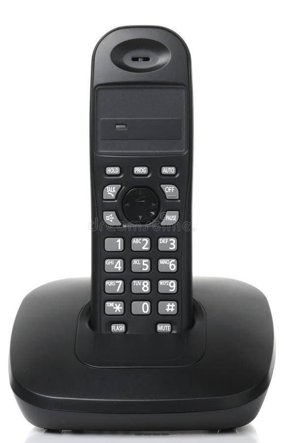 Czarny Cordless telefon na Białym tle zdjęcia stock