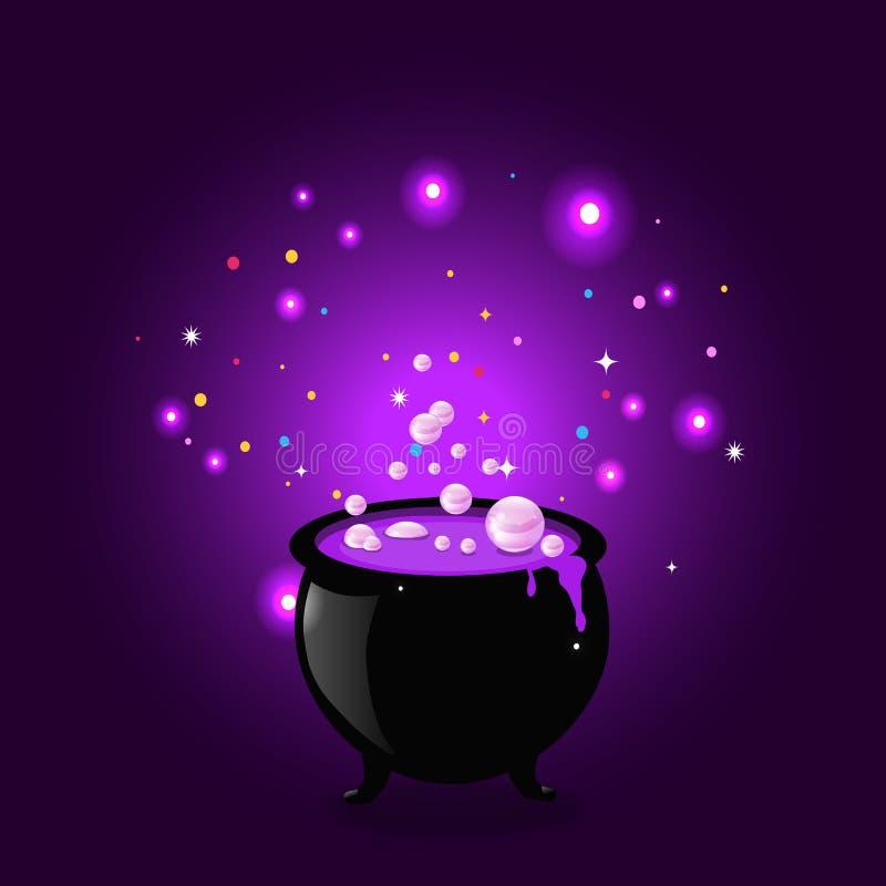 Czarny czarownica garnka kocioł z wrzącym napojem miłosnym, jarzący się błyska i gulgocze na purpurowym tle ilustracja wektor
