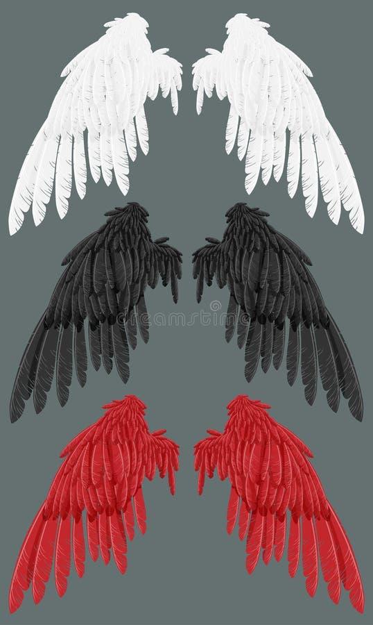 czarny czerwoni biały skrzydła ilustracja wektor