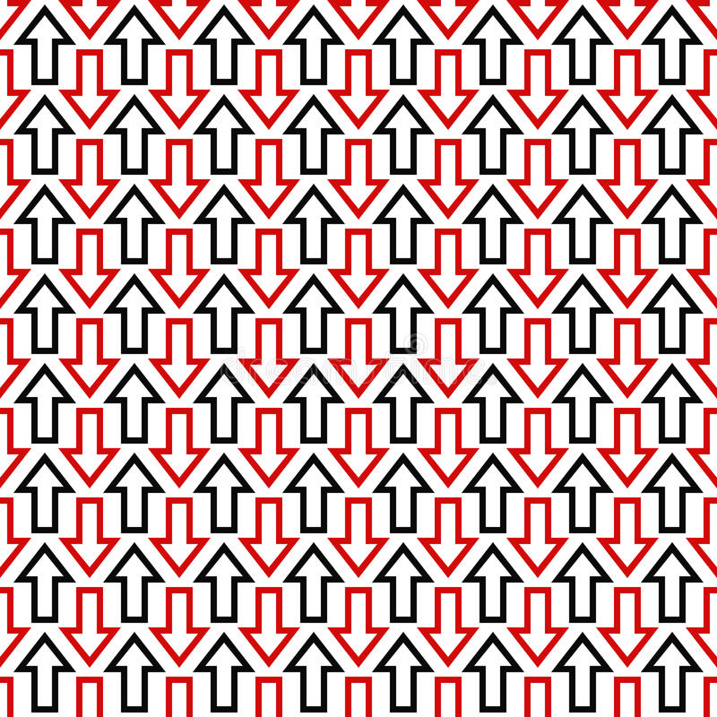 Czarny czerwony bezszwowy strzała wzoru tło royalty ilustracja