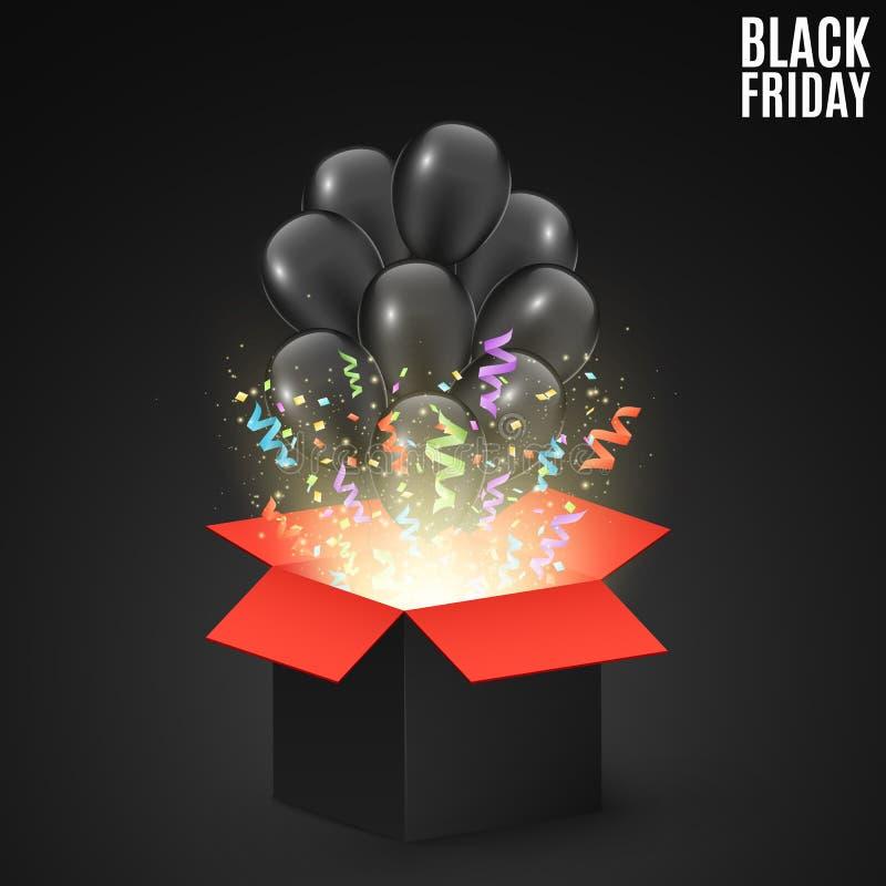 Czarny czerwony prezenta pudełko na ciemnym tle z czarnymi balonami Tło dla sprzedaży na Black Friday Kolorowi confetti i faborki ilustracji