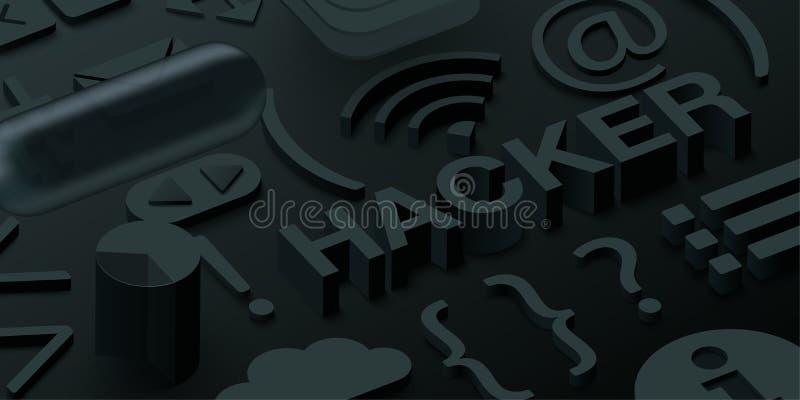 Czarny 3d hackera tło z sieć symbolami royalty ilustracja