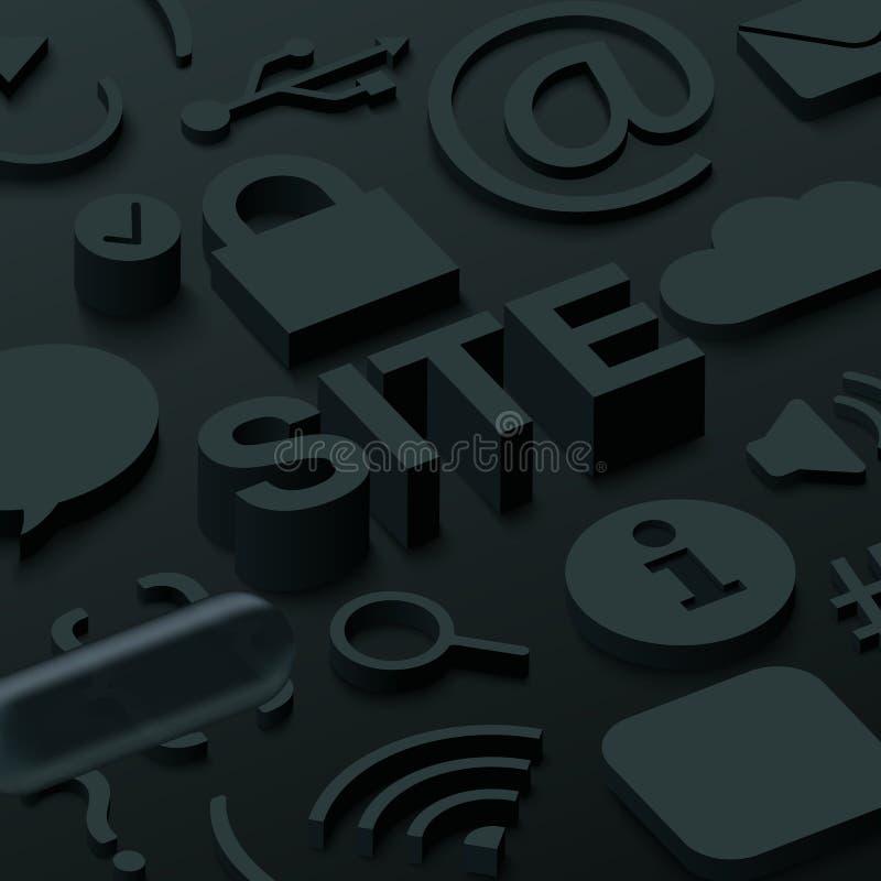 Czarny 3d miejsca tło z sieć symbolami ilustracja wektor