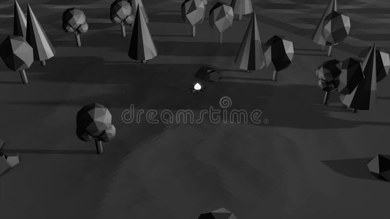 Czarny 3D model park z miejscem dla pinkinu ogieniem na popielatym tle Abstrakcjonistyczny graficzny projekt, pojemność royalty ilustracja