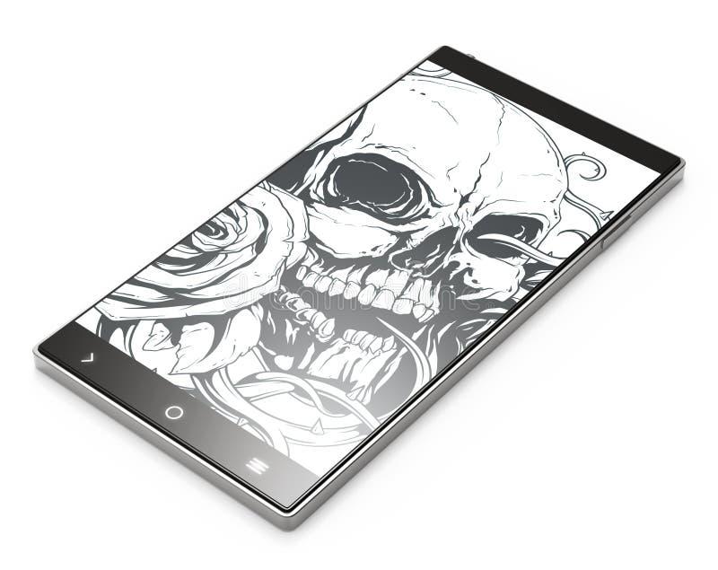 Czarny 3D smartphone z tatuaż czaszką na białym tle ilustracja wektor