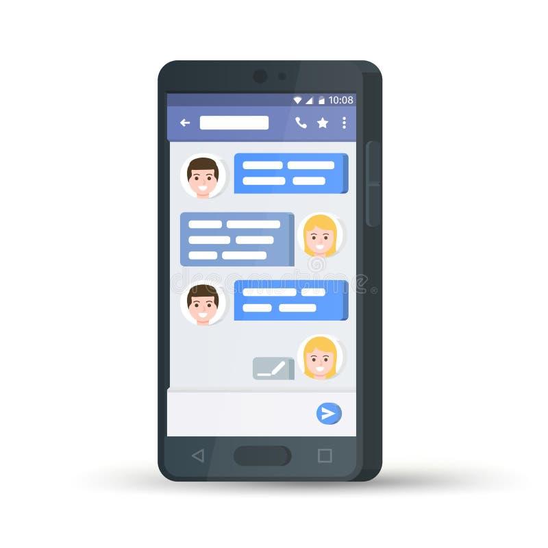 Czarny 3D telefon komórkowy pojęcie cyfrowo wytwarzał cześć wizerunku sieci res socjalny Płaski elegancki smartphone abstrakcjoni ilustracji