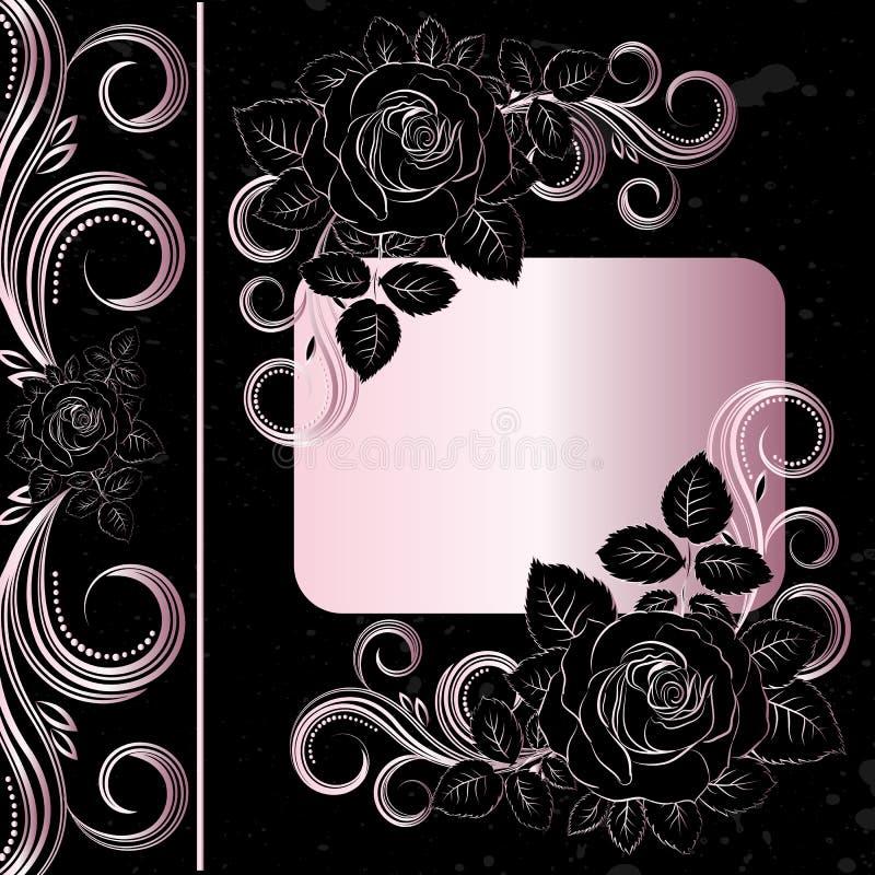 czarny dekoracja kwitnie jasnoróżowego ilustracja wektor