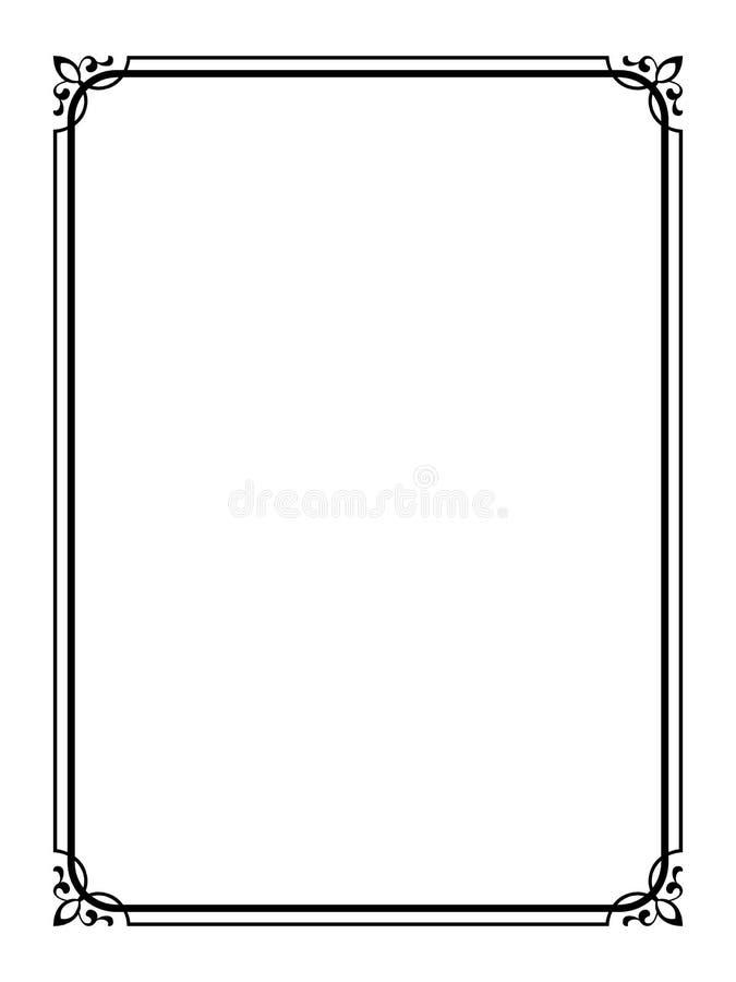 czarny dekoracyjny ramowy ornamentacyjny prosty ilustracja wektor