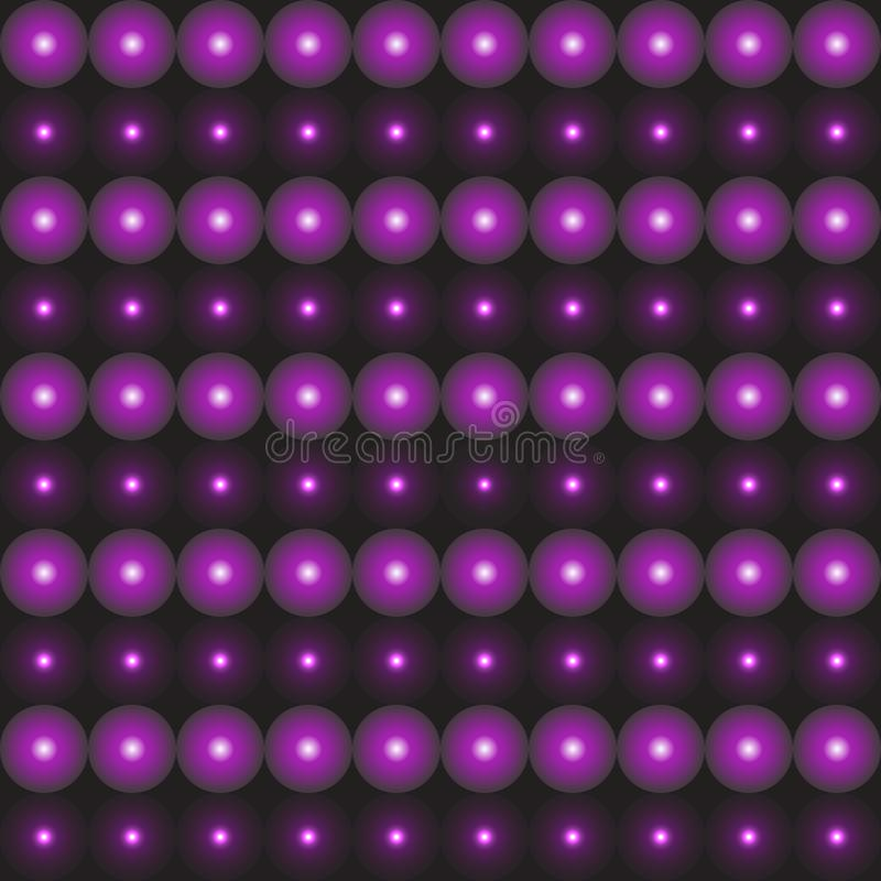 Czarny dekoracyjny tło z 3D purpur piłkami royalty ilustracja