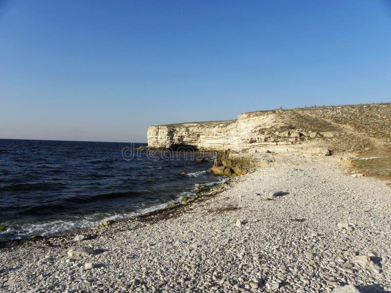 Czarny denny wybrzeże na Tarkhankut półwysepie zdjęcia royalty free