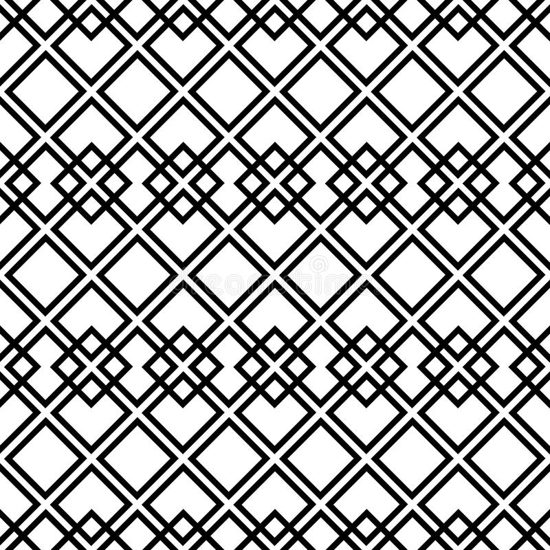 czarny deseniowy bezszwowy kwadratowy biel royalty ilustracja