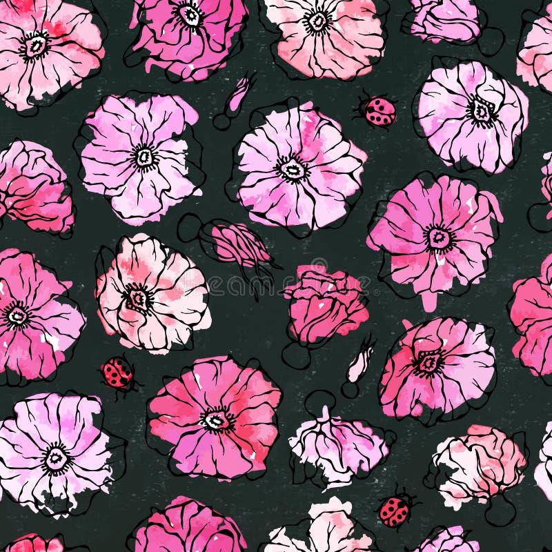 Czarny deskowy tło Bezszwowej Deseniowej akwareli róży menchii Dziki kwiat Pies Wzrastał, wrzosa liść Botaniczny obraz Realistycz ilustracji