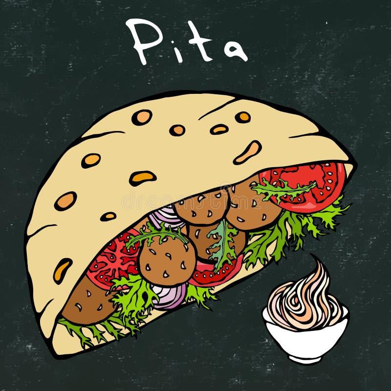 Czarny deskowy tło Falafel Pita lub klopsik sałatka w Kieszeniowym chlebie Języka arabskiego Izrael fasta food Zdrowa piekarnia j ilustracja wektor