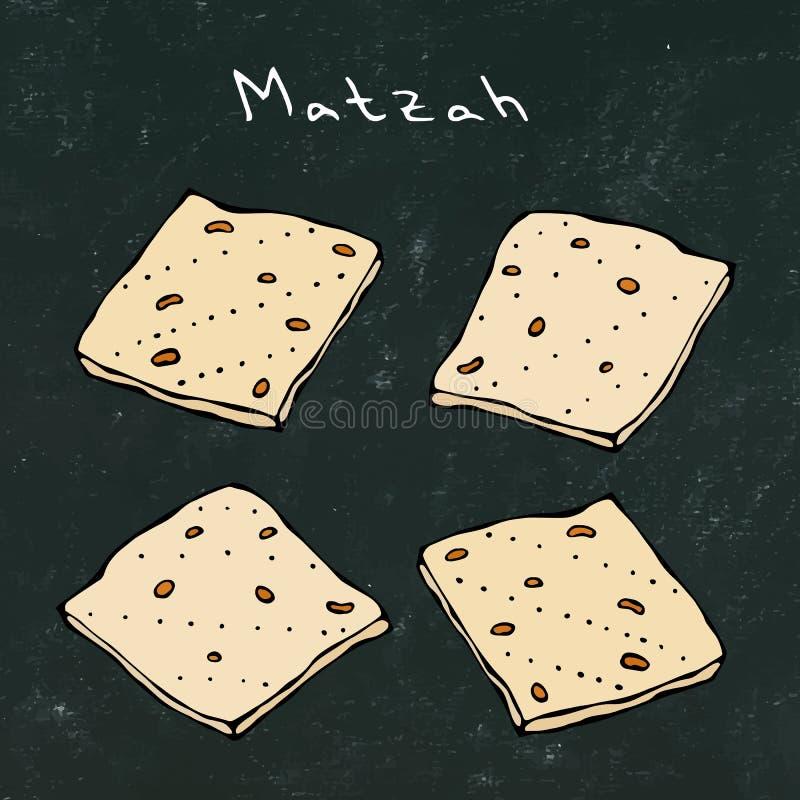 Czarny deskowy tło Matzah lub Matzo, Niekwaszony chleb dla Pesach, Żydowski wakacje Passover, odizolowywający na bielu royalty ilustracja