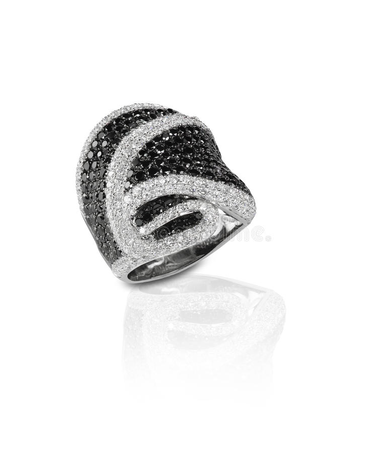 Czarny diament i onyks Brukujemy Ślubnej rocznicy pierścionek zdjęcia royalty free